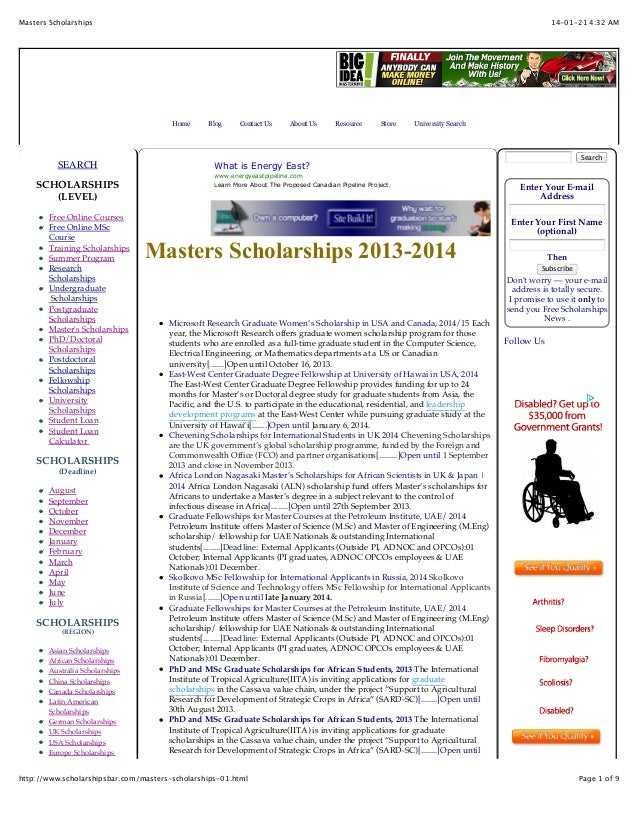 Masters Scholarships  14-01-21 4:32 AM  Home  SEARCH SCHOLARSHIPS (LEVEL) Free Online Courses Free Online MSc Course Train...