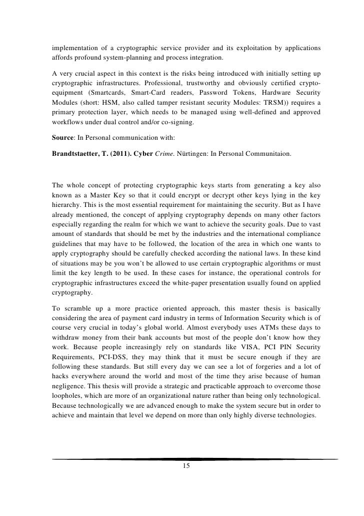 Master degree thesis in crypto system
