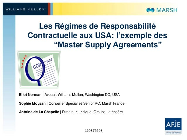 Master supply agreements - les régimes de responsabilité contractuelle aux usa