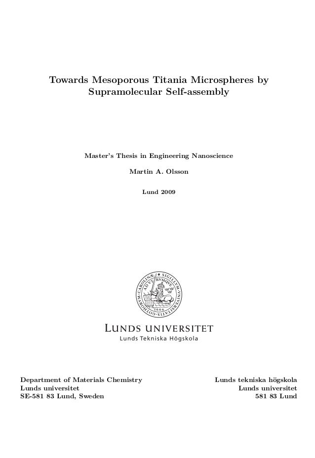 Master thesis - Nanologica AB