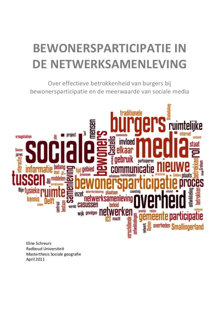 BEWONERSPARTICIPATIE IN   DE NETWERKSAMENLEVING       Over effectieve betrokkenheid van burgers bij  bewonersparticipatie ...