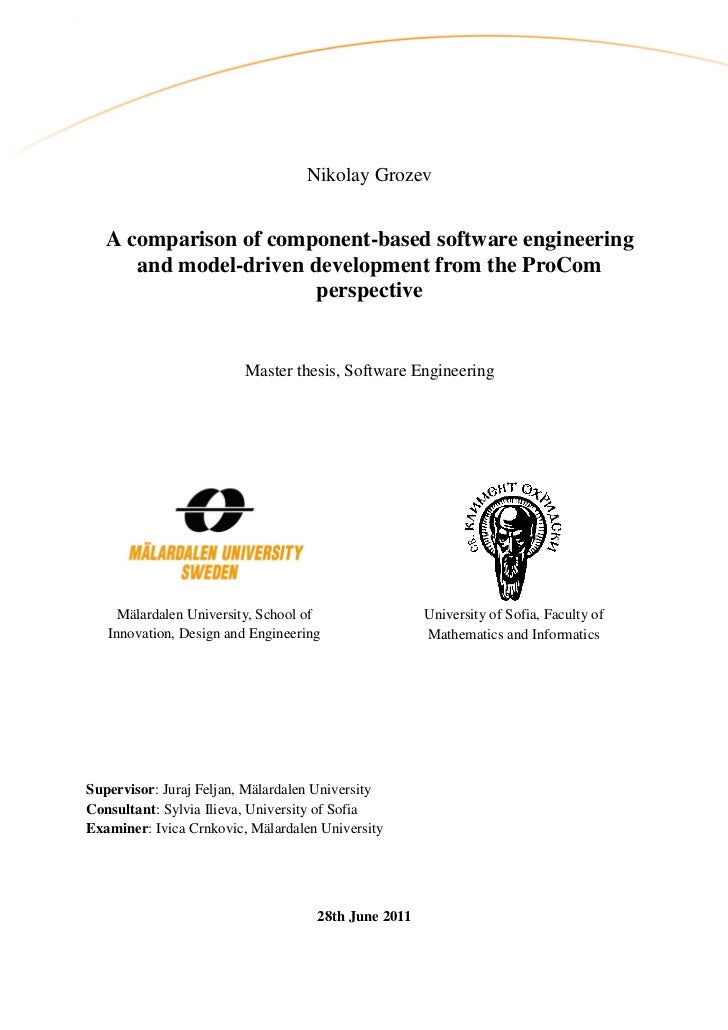 Nikolay Grozev   A comparison of component-based software engineering      and model-driven development from the ProCom   ...