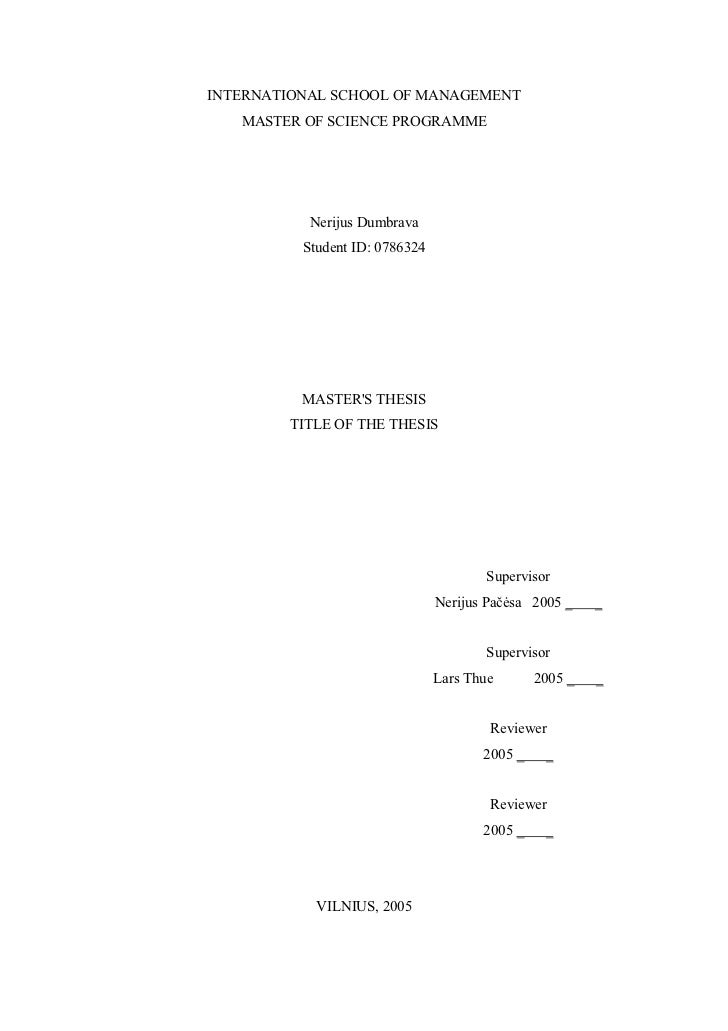 Master thesis from BI