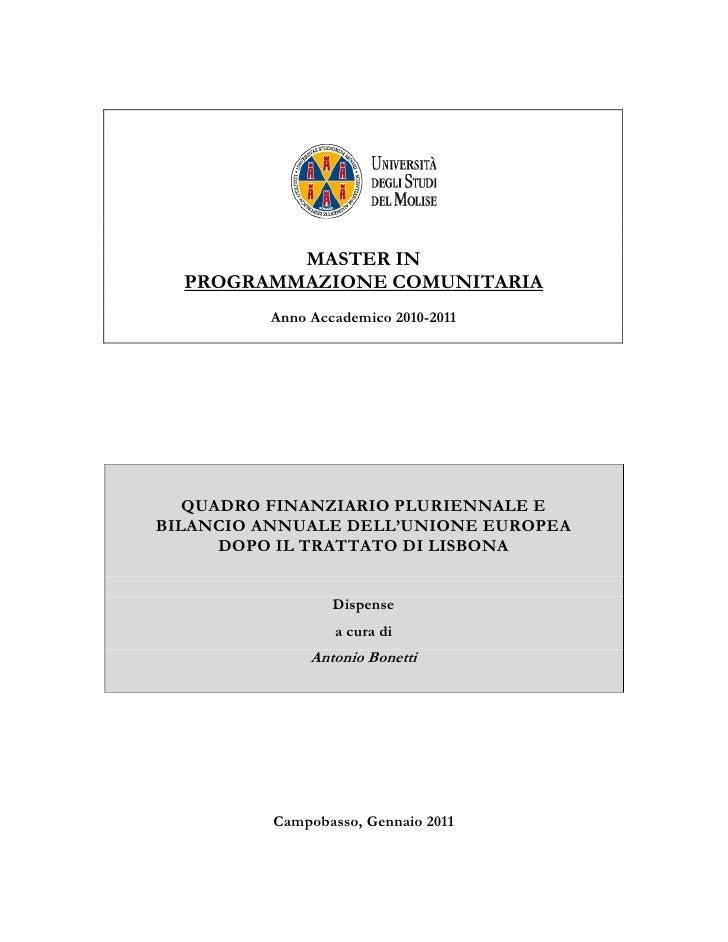 MASTER IN  PROGRAMMAZIONE COMUNITARIA         Anno Accademico 2010-2011   QUADRO FINANZIARIO PLURIENNALE EBILANCIO ANNUALE...