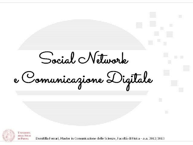 Comunicazione Digitale e Social Network