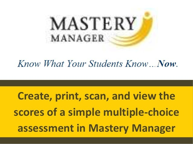 Mastery manager training 1