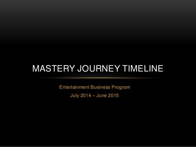 Entertainment Business Program July 2014 – June 2015 MASTERY JOURNEY TIMELINE