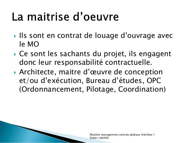 Batiment passage construction exploitation for Contrat de maitrise d oeuvre