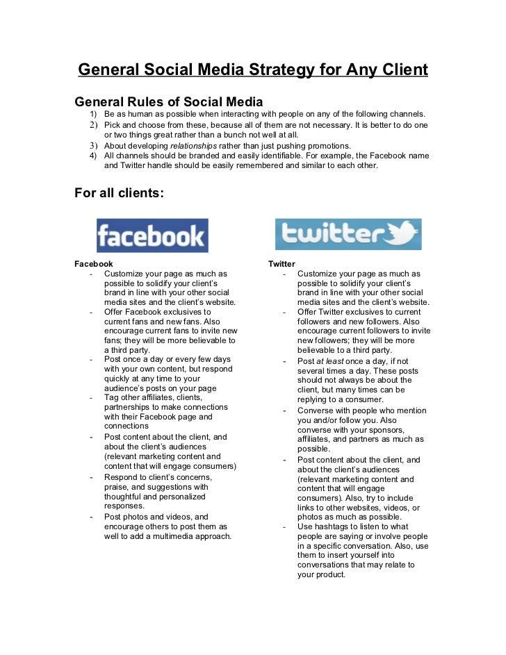 General Social Media Strategy