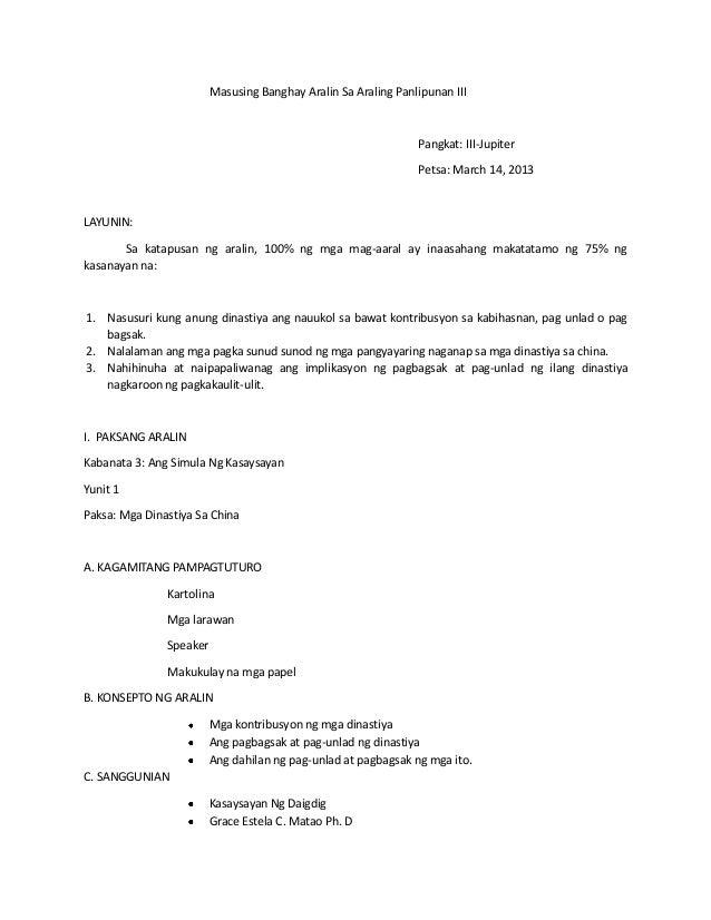 banghay aralin sa araling panlipunan iv Banghay aralin sa ekonomiks - free download as word doc (doc / docx), pdf file (pdf), text file (txt) or read online for free.