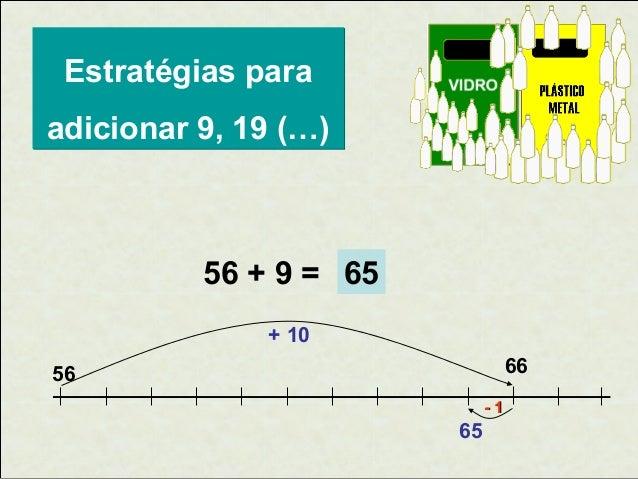 Estratégias para adicionar 9, 19 (…)  56 + 9 = 65 + 10 66  56 -1  65