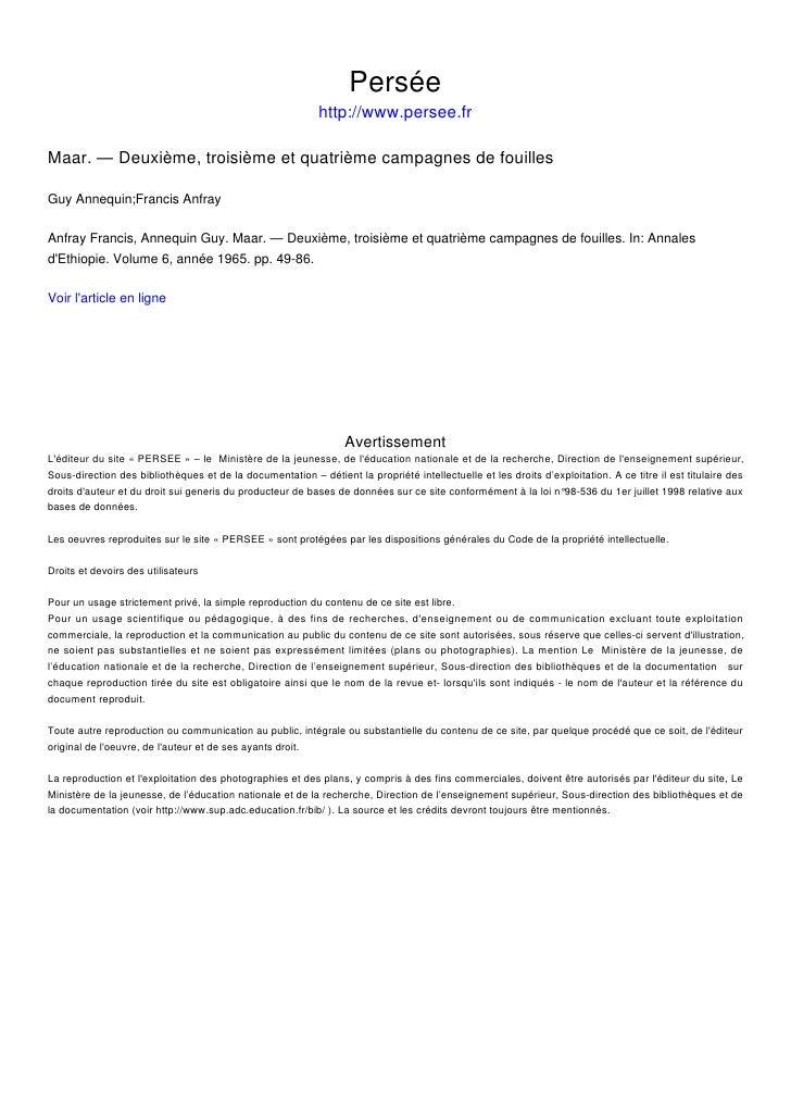 Persée                                                             http://www.persee.fr  Maar. — Deuxième, troisième et qu...