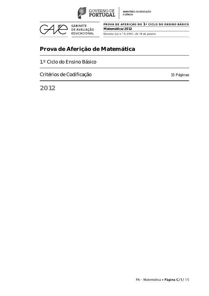 PROVA DE AFERIÇÃO DO 1.º CICLO DO ENSINO BÁSICO                             Matemática/2012                             De...