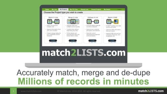 MATCH MERGEreservedDEDUPE    © Segmetrix 2003-2009. All rightsFast, Accurate Data MatchingThe No. 1 online tool to match, ...