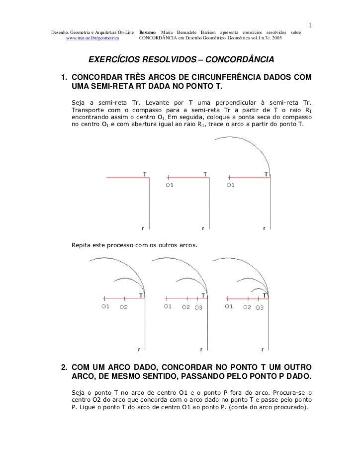 1Desenho, Geometria e Arquitetura On-Line   Resumo. Maria Bernadete Barison apresenta exercícios resolvidos sobre      www...
