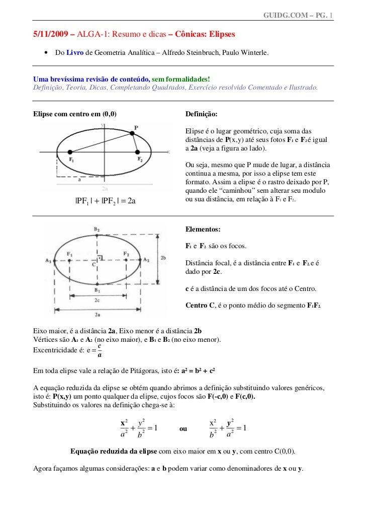 GUIDG.COM – PG. 15/11/2009 – ALGA-1: Resumo e dicas – Cônicas: Elipses   •   Do Livro de Geometria Analítica – Alfredo Ste...