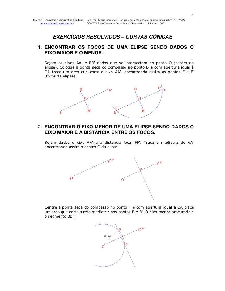 1Desenho, Geometria e Arquitetura On-Line   Resumo. Maria Bernadete Barison apresenta exercícios resolvidos sobre CURVAS  ...