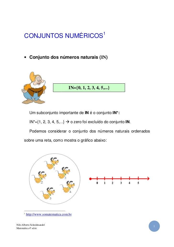 CONJUNTOS NUMÉRICOS1      • Conjunto dos números naturais (IN)                                      (                     ...