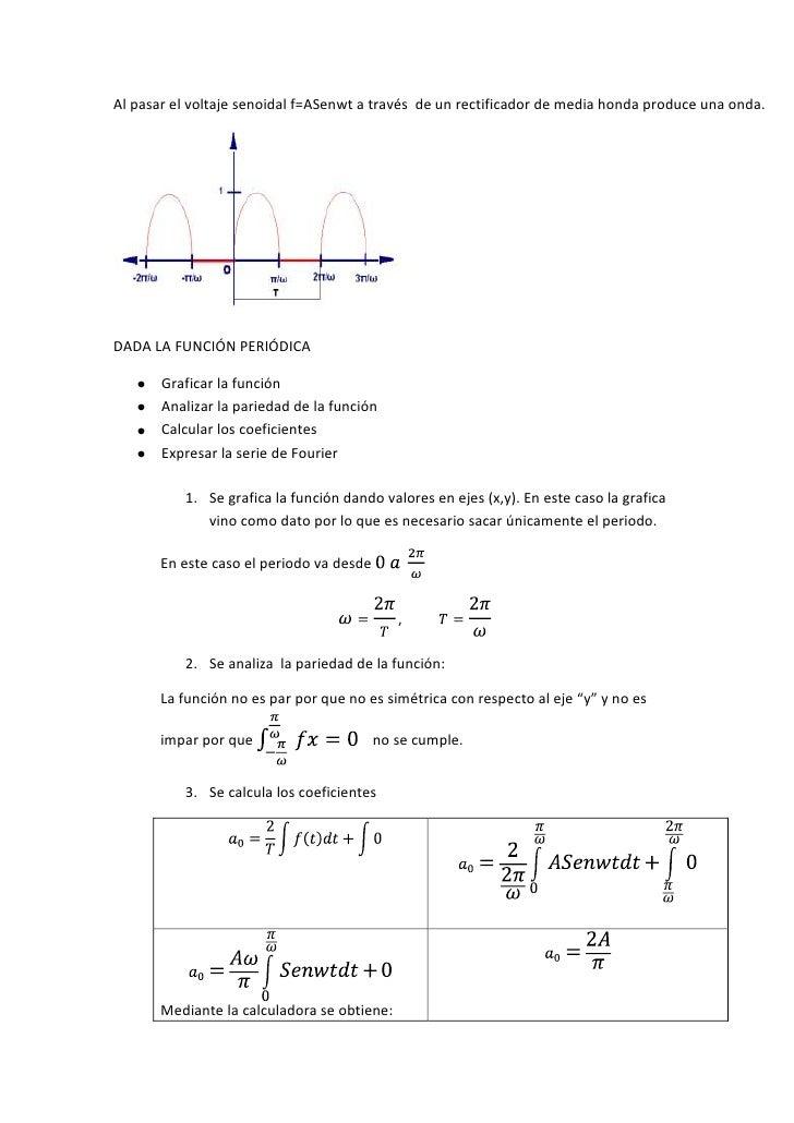Al pasar el voltaje senoidal f=ASenwt a través  de un rectificador de media honda produce una onda.<br />DADA LA FUNCIÓN P...