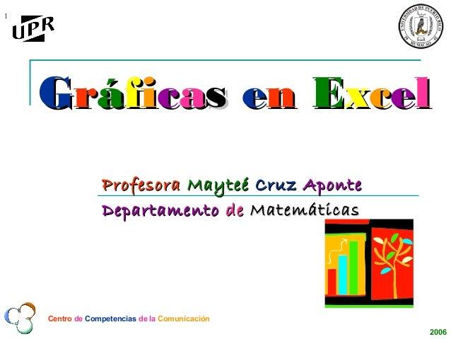 1    Gráficas en Excel                 Profesora Mayteé Cruz Aponte                 Departamento de Matemáticas    Centro ...