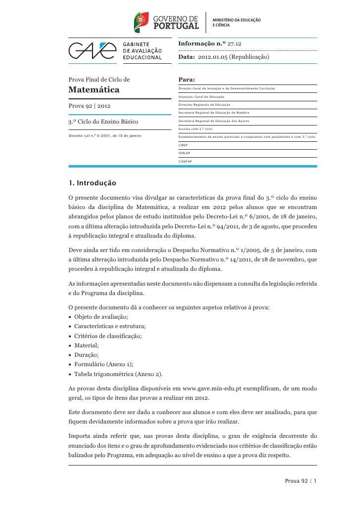 Informação n.º 27.12                                           Data: 2012.01.05 (Republicação)Prova Final de Ciclo de     ...
