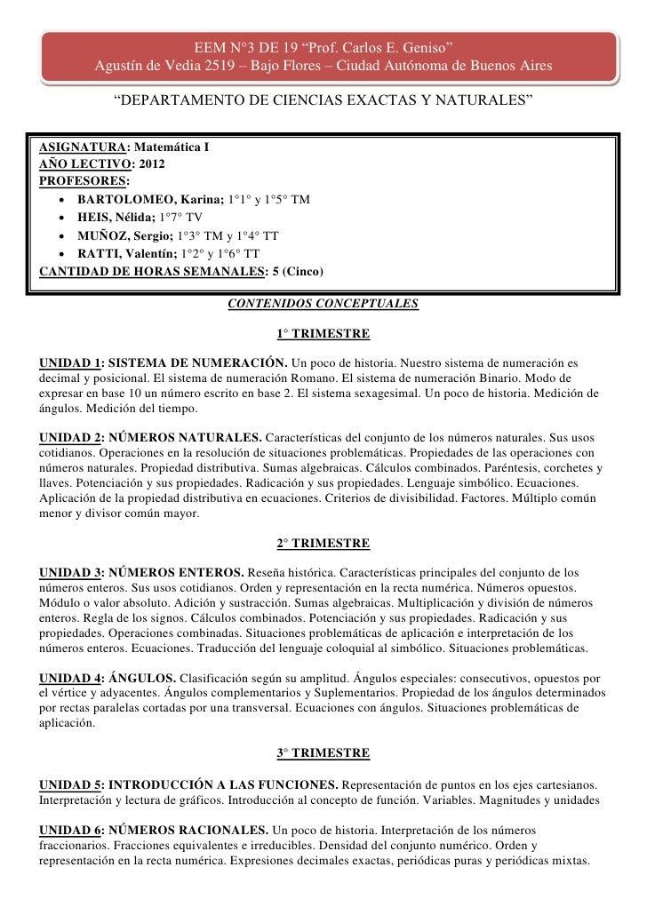 """EEM N°3 DE 19 """"Prof. Carlos E. Geniso""""          Agustín de Vedia 2519 – Bajo Flores – Ciudad Autónoma de Buenos Aires     ..."""