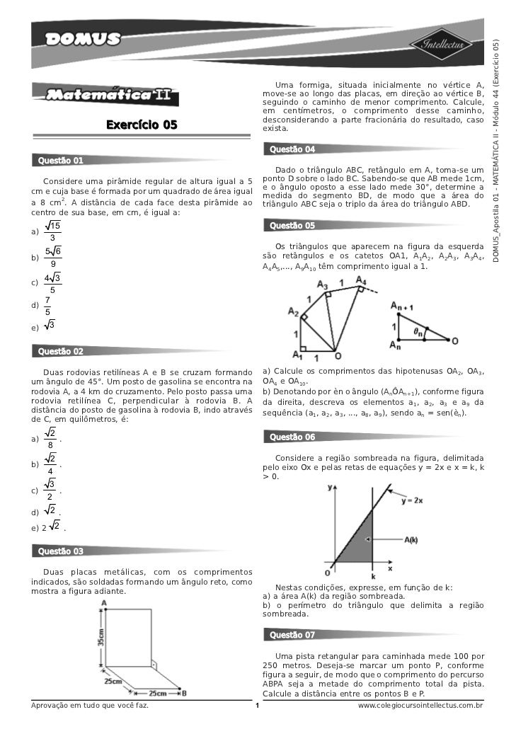 DOMUS_Apostila 01 - MATEMÁTICA II - Módulo 44 (Exercício 05)                                                              ...