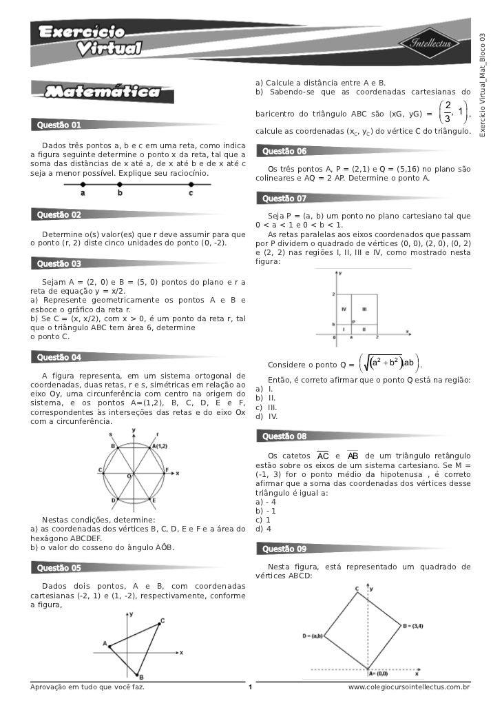 Exercício Virtual_Mat_Bloco 03                                                                a) Calcule a distância entre...