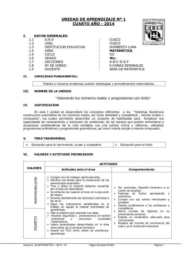 UNIDAD DE APRENDIZAJE Nº 1 CUARTO AÑO - 2014 I. 1.1 1.2 1.3 1.4 1.5 1.6 1.7 1.8 1.9 II.  DATOS GENERALES: D.R.E UGEL INSTI...