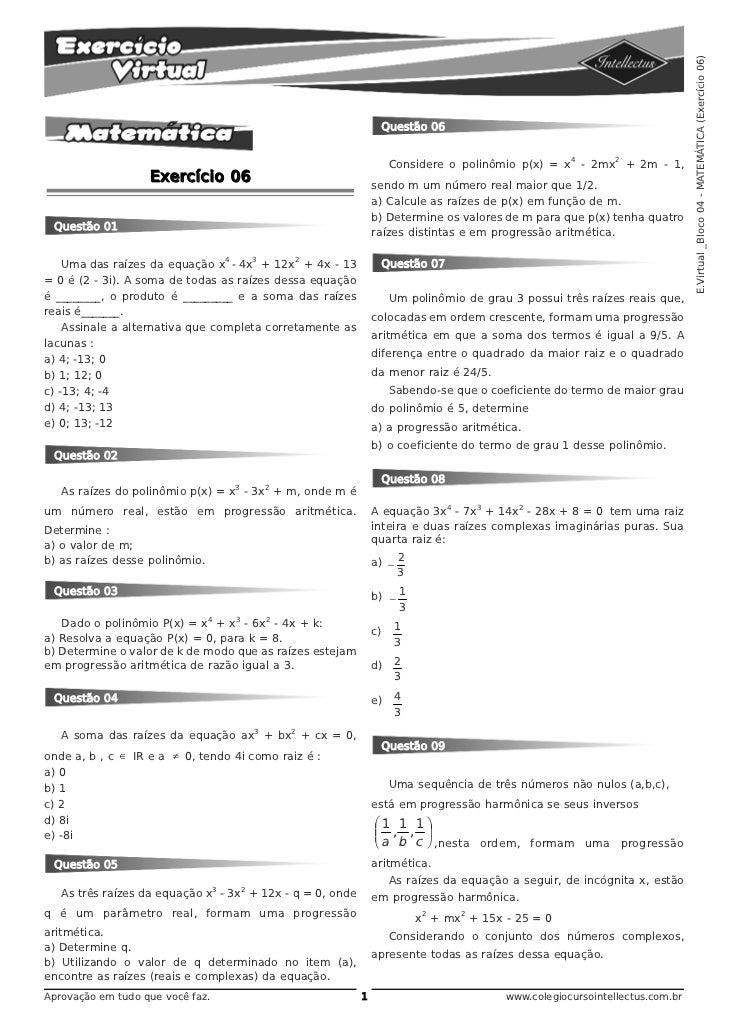 E.Virtual _Bloco 04 - MATEMÁTICA (Exercício 06)                                                                   Questão ...