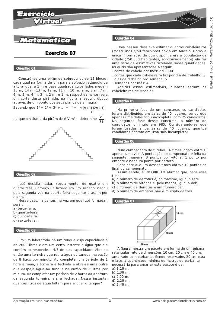 E.Virtual _Bloco 04 - MATEMÁTICA (Exercício 07)                                                               Questão 04  ...