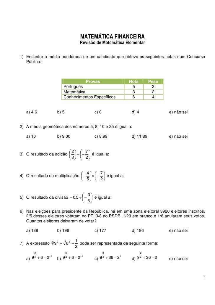 Matematica exercicios elementar