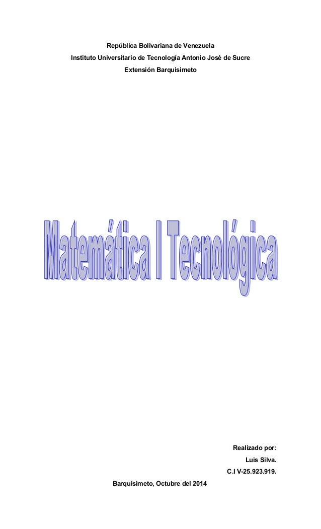 República Bolivariana de Venezuela  Instituto Universitario de Tecnología Antonio José de Sucre  Extensión Barquisimeto  R...