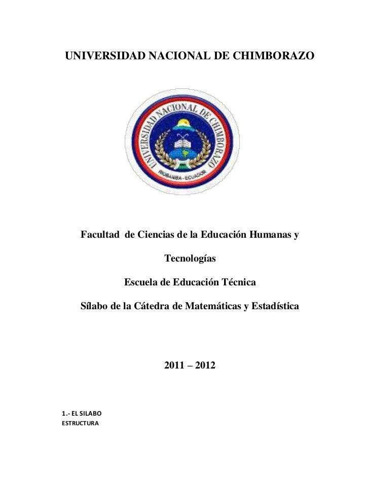 UNIVERSIDAD NACIONAL DE CHIMBORAZO      Facultad de Ciencias de la Educación Humanas y                        Tecnologías ...
