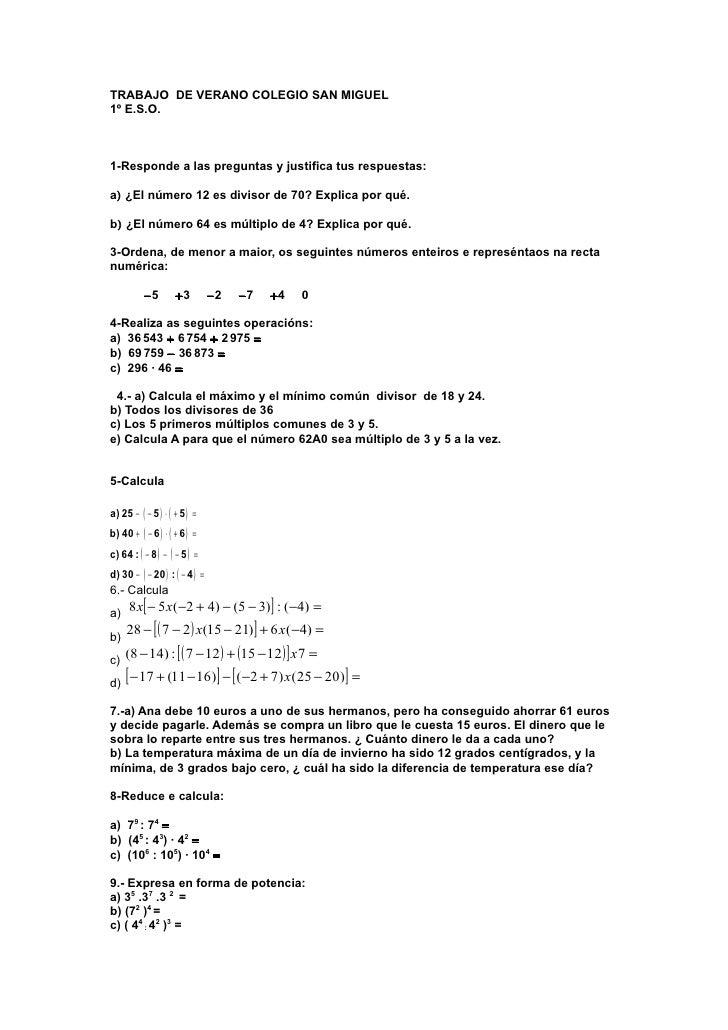 TRABAJO DE VERANO COLEGIO SAN MIGUEL1º E.S.O.1-Responde a las preguntas y justifica tus respuestas:a) ¿El número 12 es div...