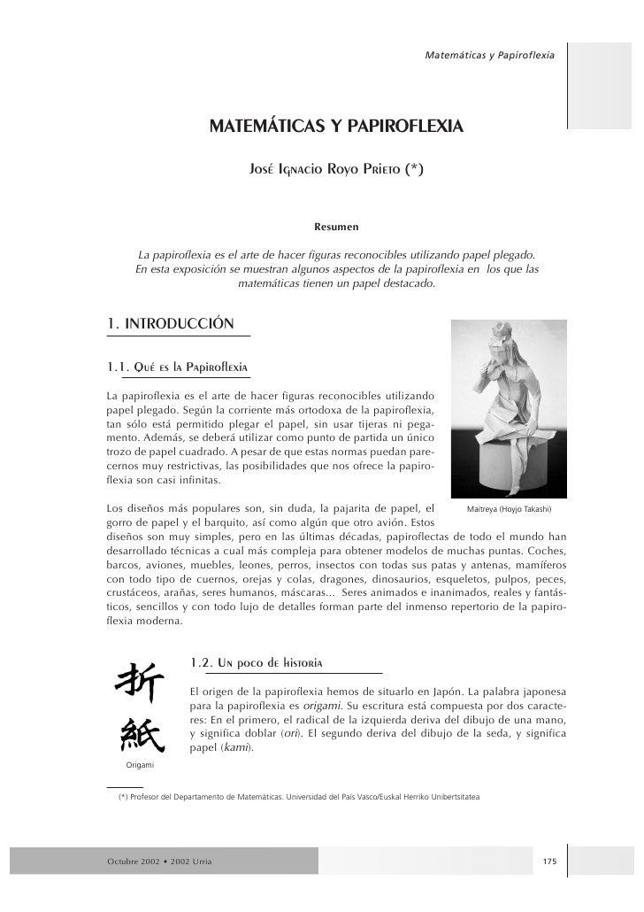 Matemáticas y Papiroflexia                                MATEMçTICAS Y PAPIROFLEXIA                                      ...