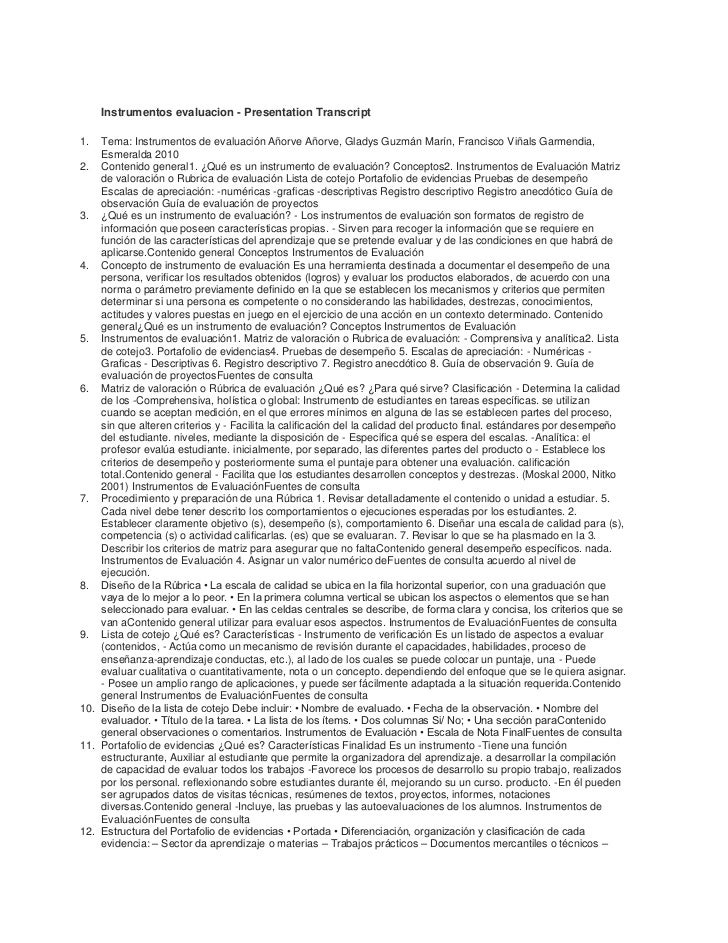 Instrumentos evaluacion - Presentation Transcript1.  Tema: Instrumentos de evaluación Añorve Añorve, Gladys Guzmán Marín, ...