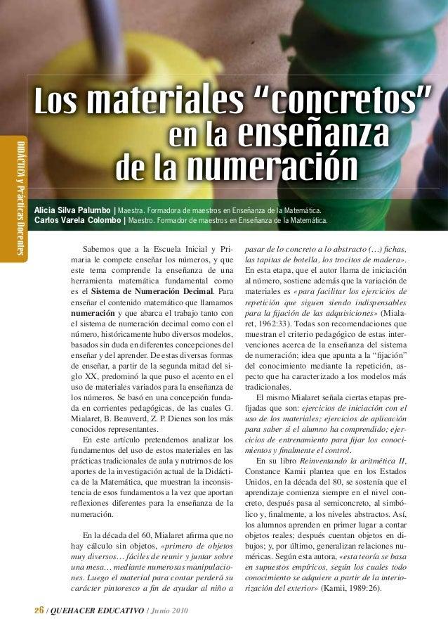 """Los materiales """"concretos""""                                                            en la enseñanzaDIDÁCTICA y Prácticas..."""