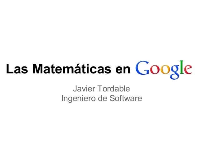 Las Matemáticas en Javier Tordable Ingeniero de Software