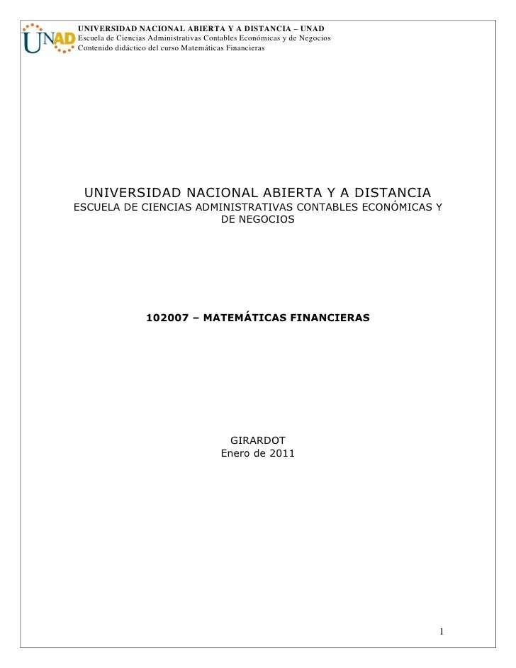 Matematicas financieras 2011-2