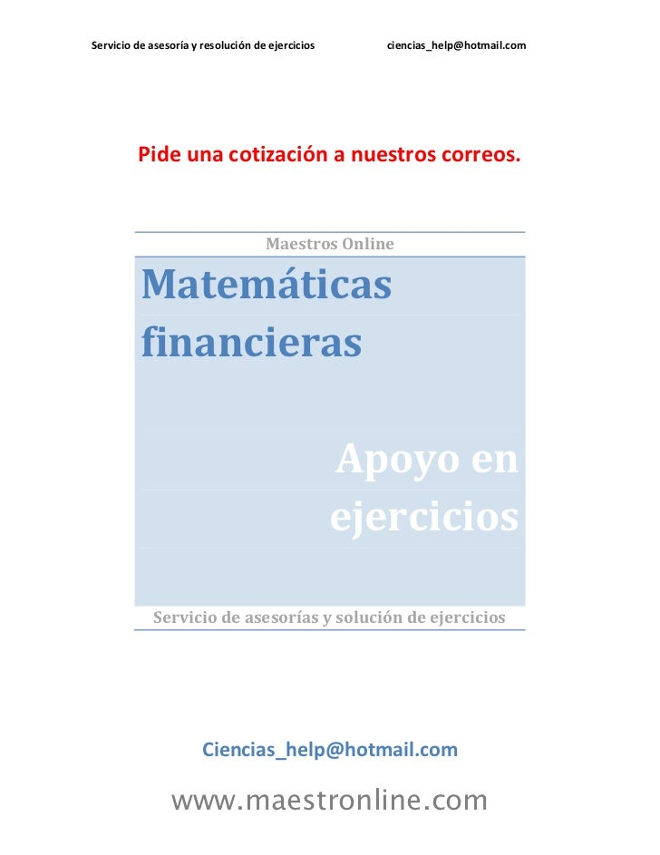 Matematicas financieras 2012