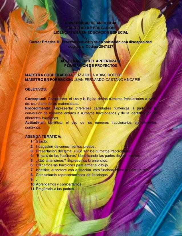 UNIVERSIDAD DE ANTIOQUIA FACULTAD DE EDUCACIÓN LICENCIATURA EN EDUCACIÓN ESPECIAL Curso: Práctica III: Procesos educativos...