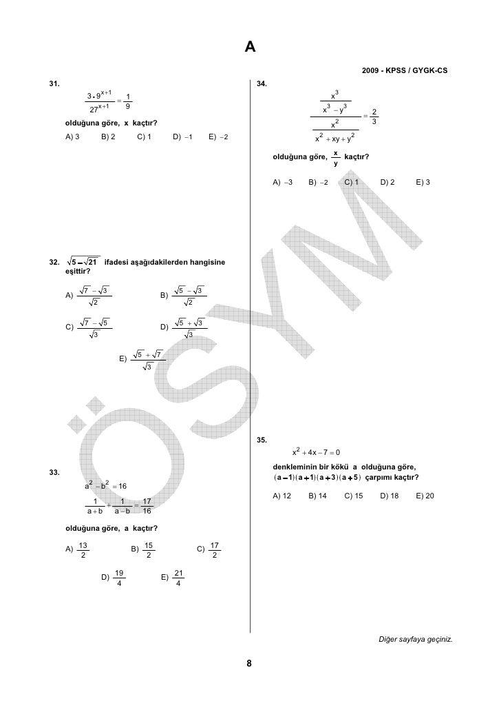 2009 kpss matematik soruları