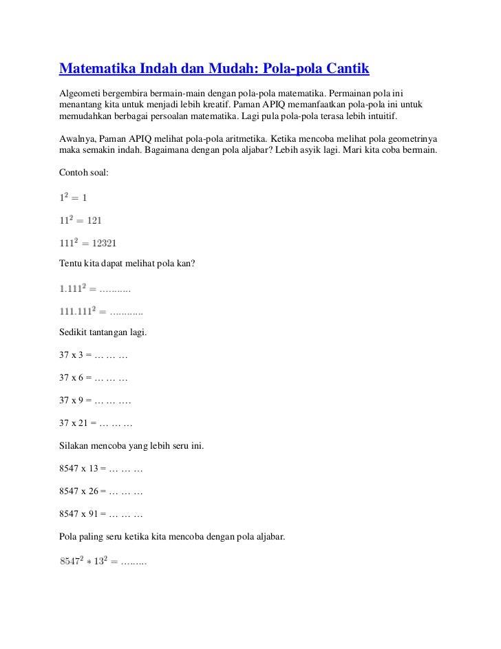 Matematika indah dan mudah