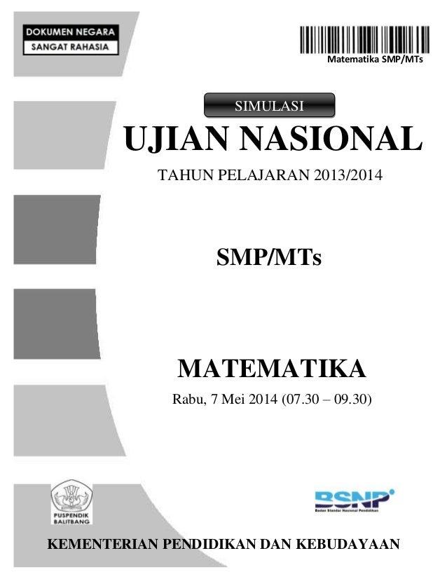 Simulasi Un Matematika Smp 2014