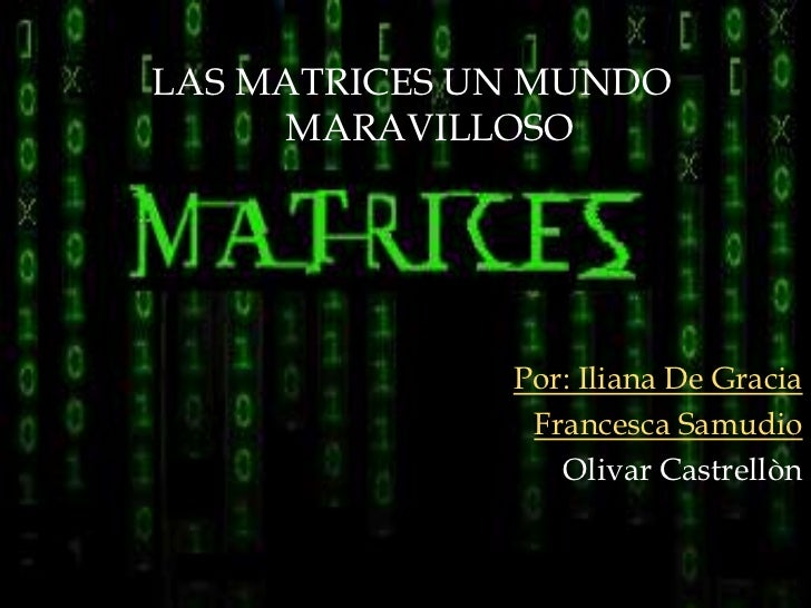 LAS MATRICES UN MUNDO     MARAVILLOSO              Por: Iliana De Gracia               Francesca Samudio                 O...