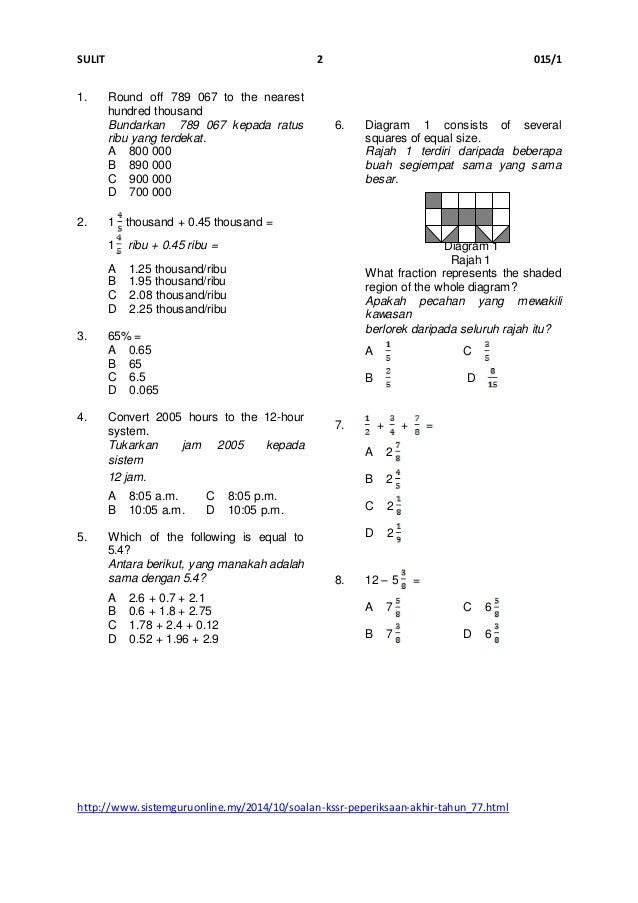 Soalan Matematik Tahun 1 Bundarkan Jalan Moren