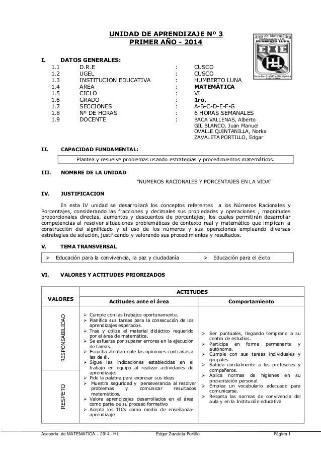 Asesoría de MATEMATICA – 2014 - HL Edgar Zavaleta Portillo Página 1 UNIDAD DE APRENDIZAJE Nº 3 PRIMER AÑO - 2014 I. DATOS ...