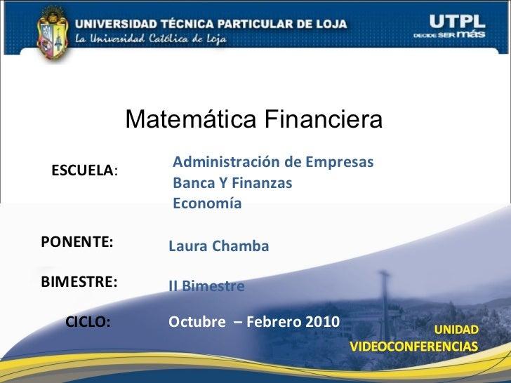Matemática Financiera II Bimestre