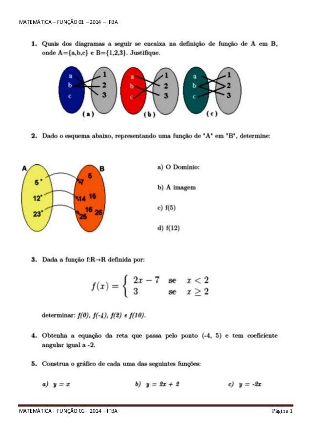 Matemática – função 01 – 2014 – ifba